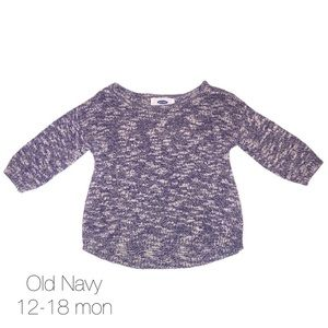 Old Navy Blue 3/4 Sleeve Marbled Sweater 12-18 mon